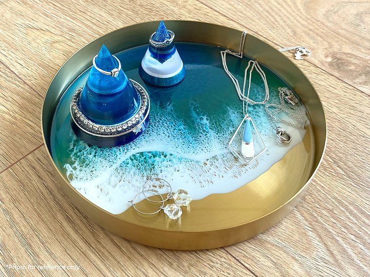 Gold Metal Tray - M - Turquoise