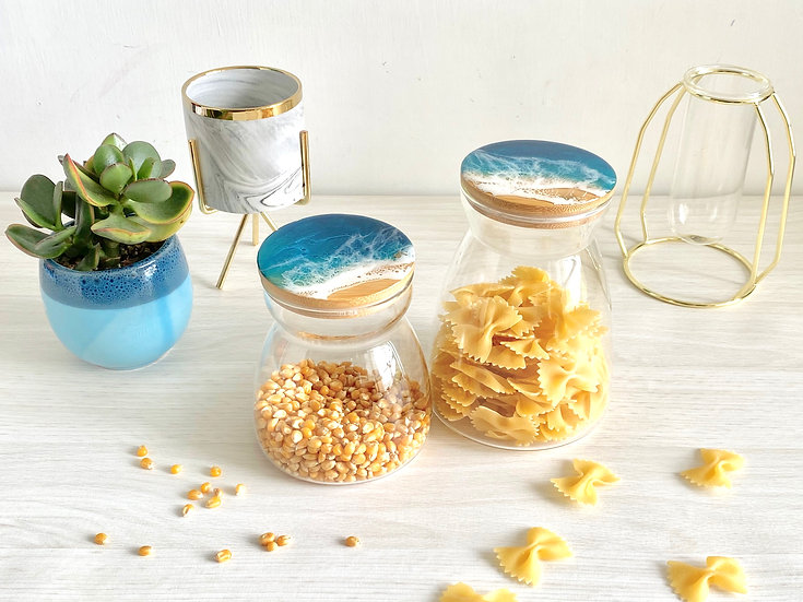 Hour Glass Canisters -Aqua