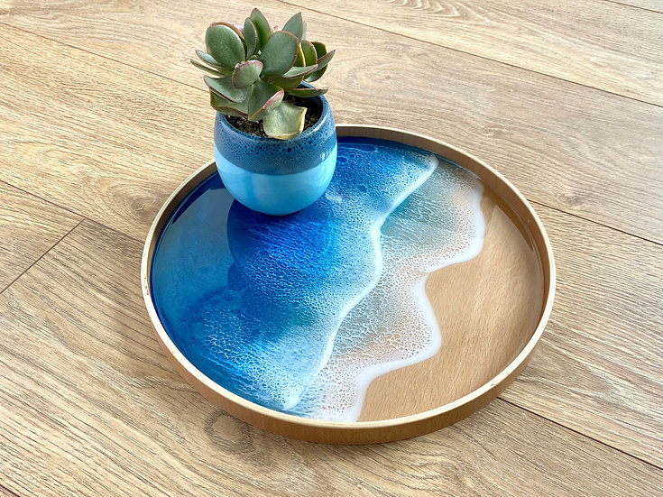 Wood Serving Tray - Aqua