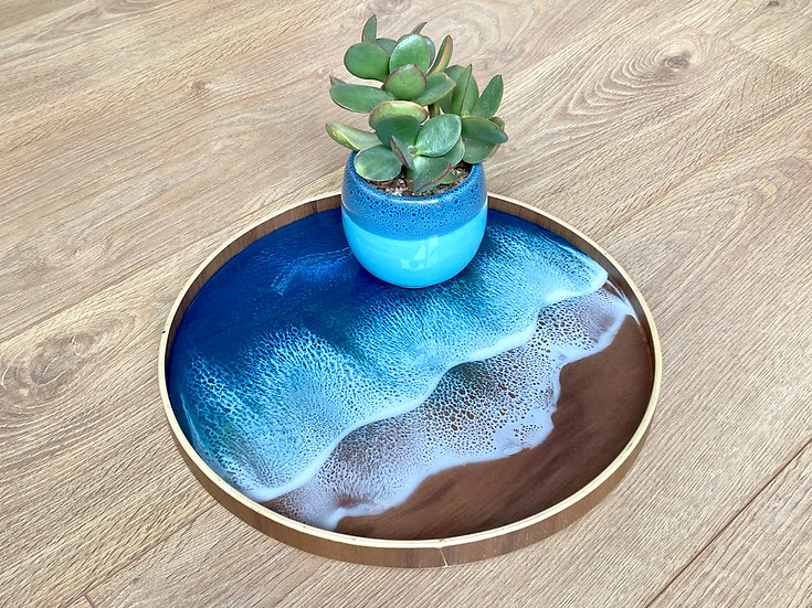 Wood Serving Tray - Deep Turquoise