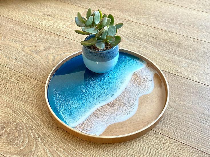 Wood Serving Tray - Blue Diamond