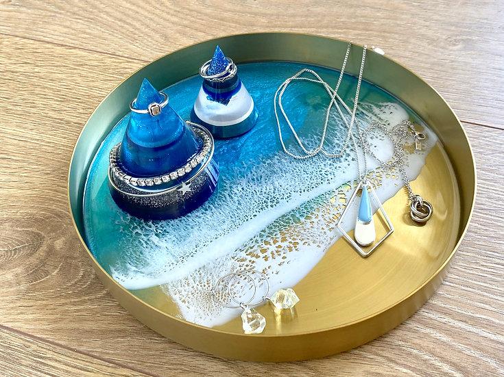 Gold Metal Tray - M - Blue Diamond