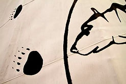 Tipi with grizzly bear design