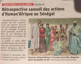 Article Human Afrique Saint genis-les-Ollières Le Progrès Lyon