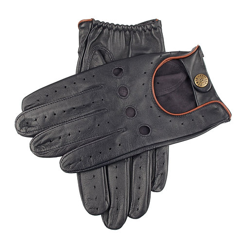 British Racing Navy Leather Gloves