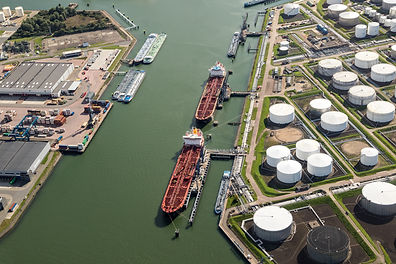 Aerial view of oil tankers moored at a o