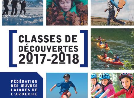 La brochure pour nos classes de découvertes 2017/2018 est disponible !