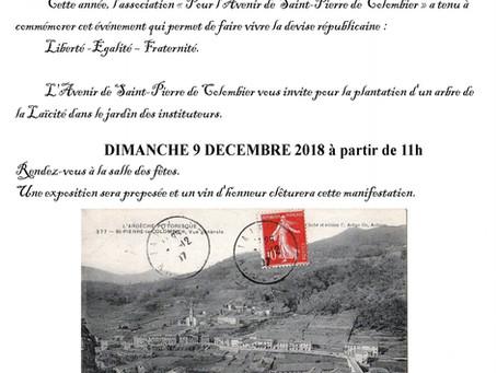 L'association L'avenir de Saint-Pierre de Colombier plante un arbre de la laïcité