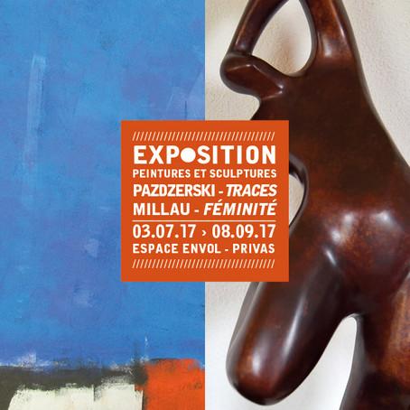Exposition « Féminité » et « Traces » – Sculptures de Bernard Millau et peintures d'André Pazdzerski