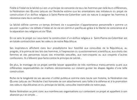 Adoption d'une motion par la F.O.L. Ardèche