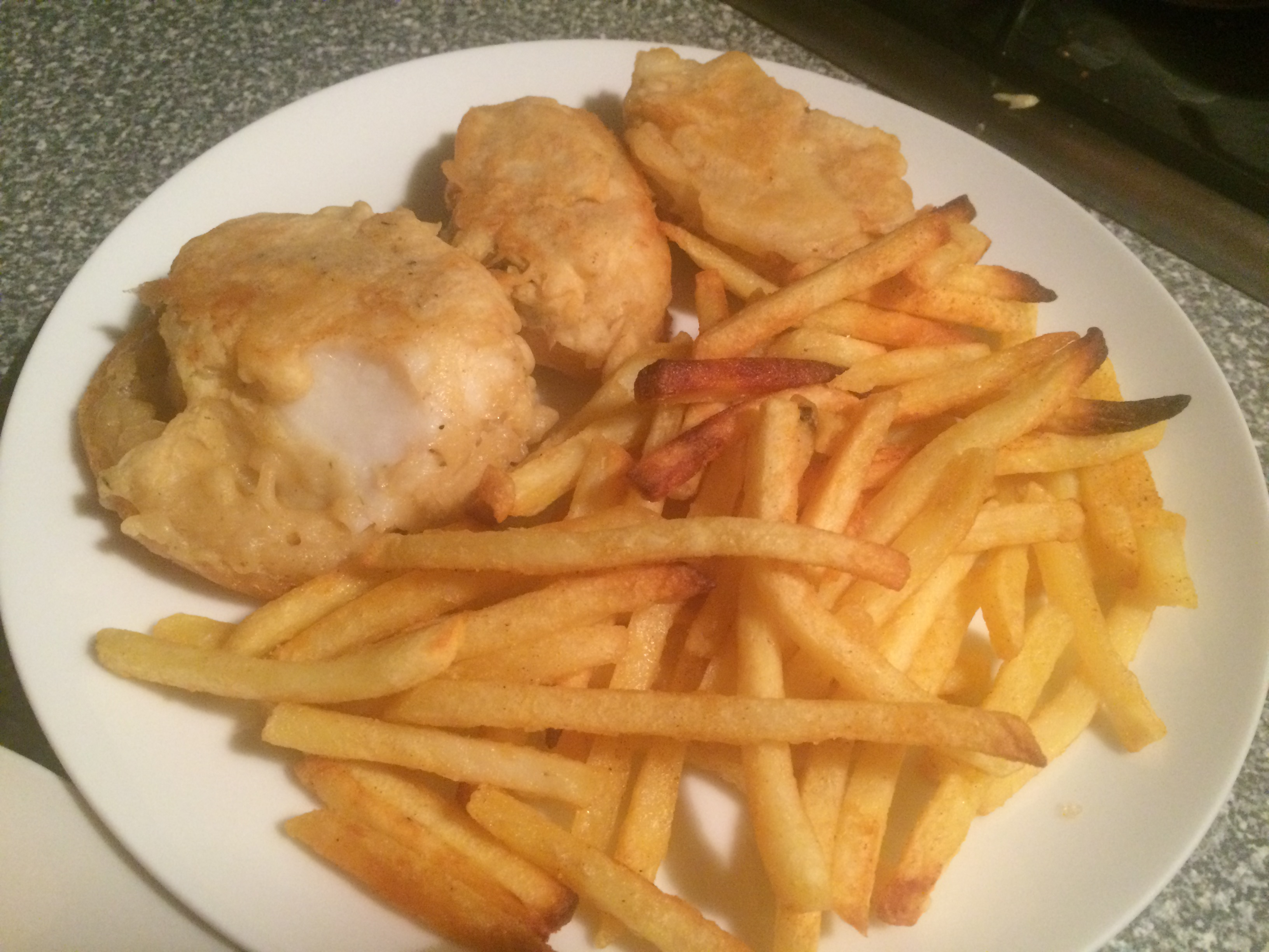 Battered Cod and Chips