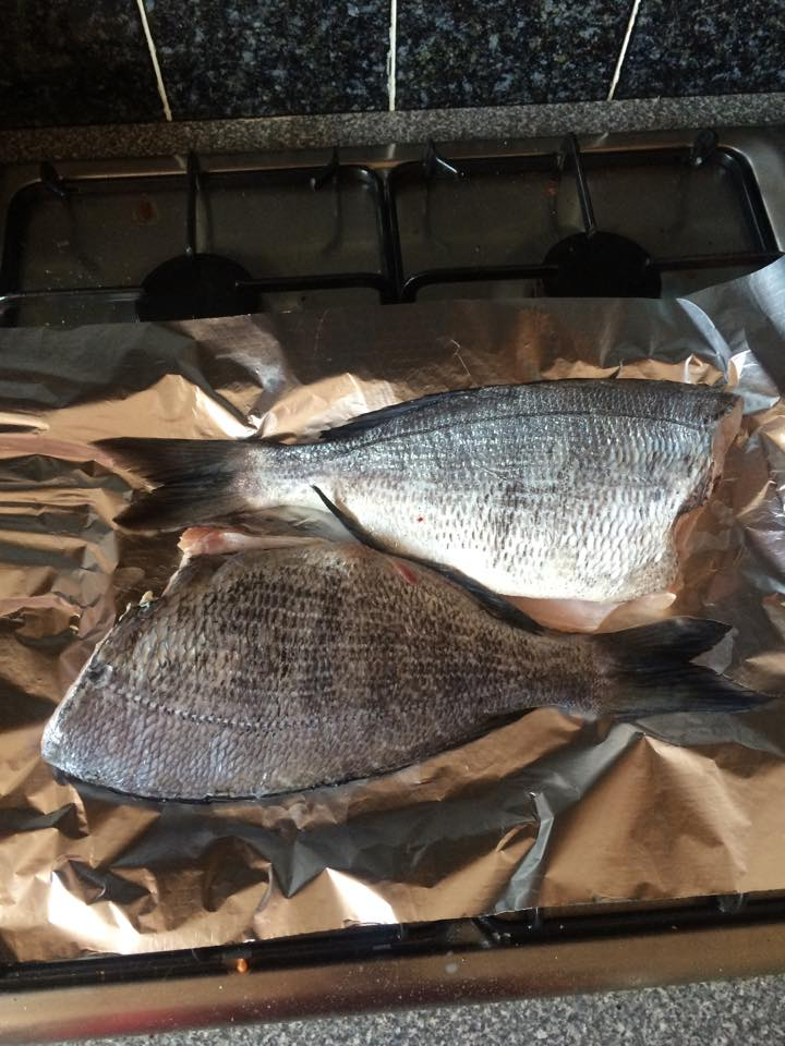 Bream gutted and cleaned