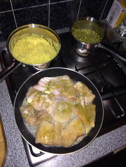 Spiced Cod cooking in butter Mmmm