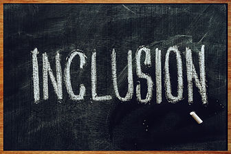 Word Inclusion on school blackboard writ