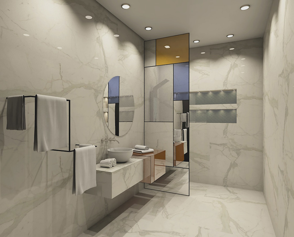 Another example for how the light colors compliment the space, there's no harm in adding a bit of color to such a beautiful slab