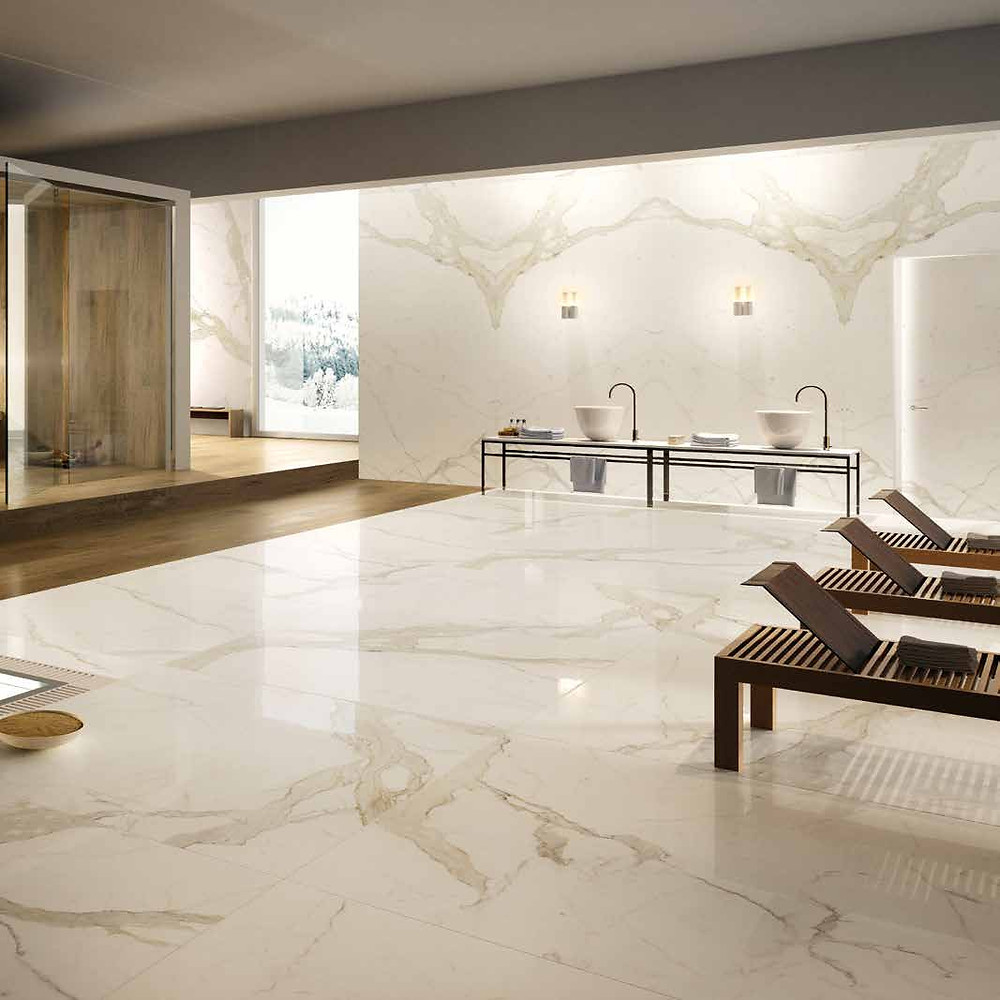 The slabs are available in different sizes and can be used on walls and floors to create different patterns