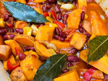 Cocotte de patates douces, poivrons et haricots rouges