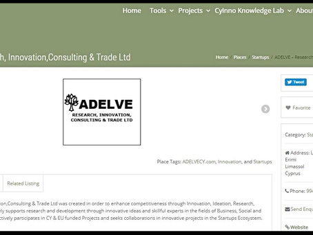 ADELVE - Research, Innovation, Consulting & Trade Ltd Joins the Cyprusinno Network.