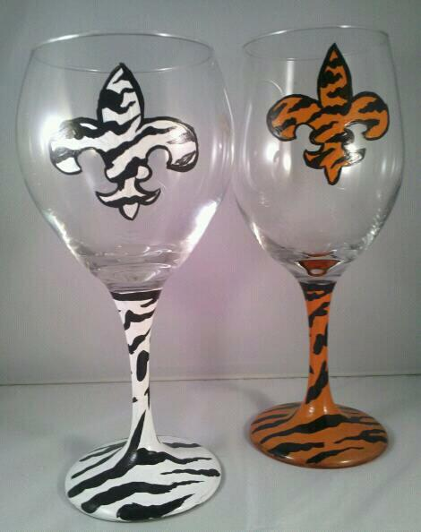Enamel Painted Wine Glasses