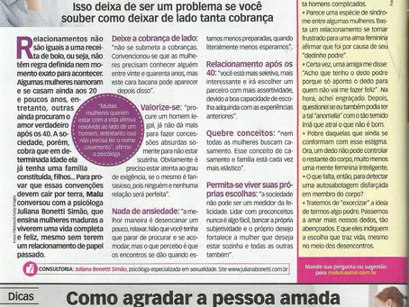 Matéria na revista Malu