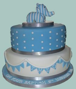 Elephant Themed Baptism Cake