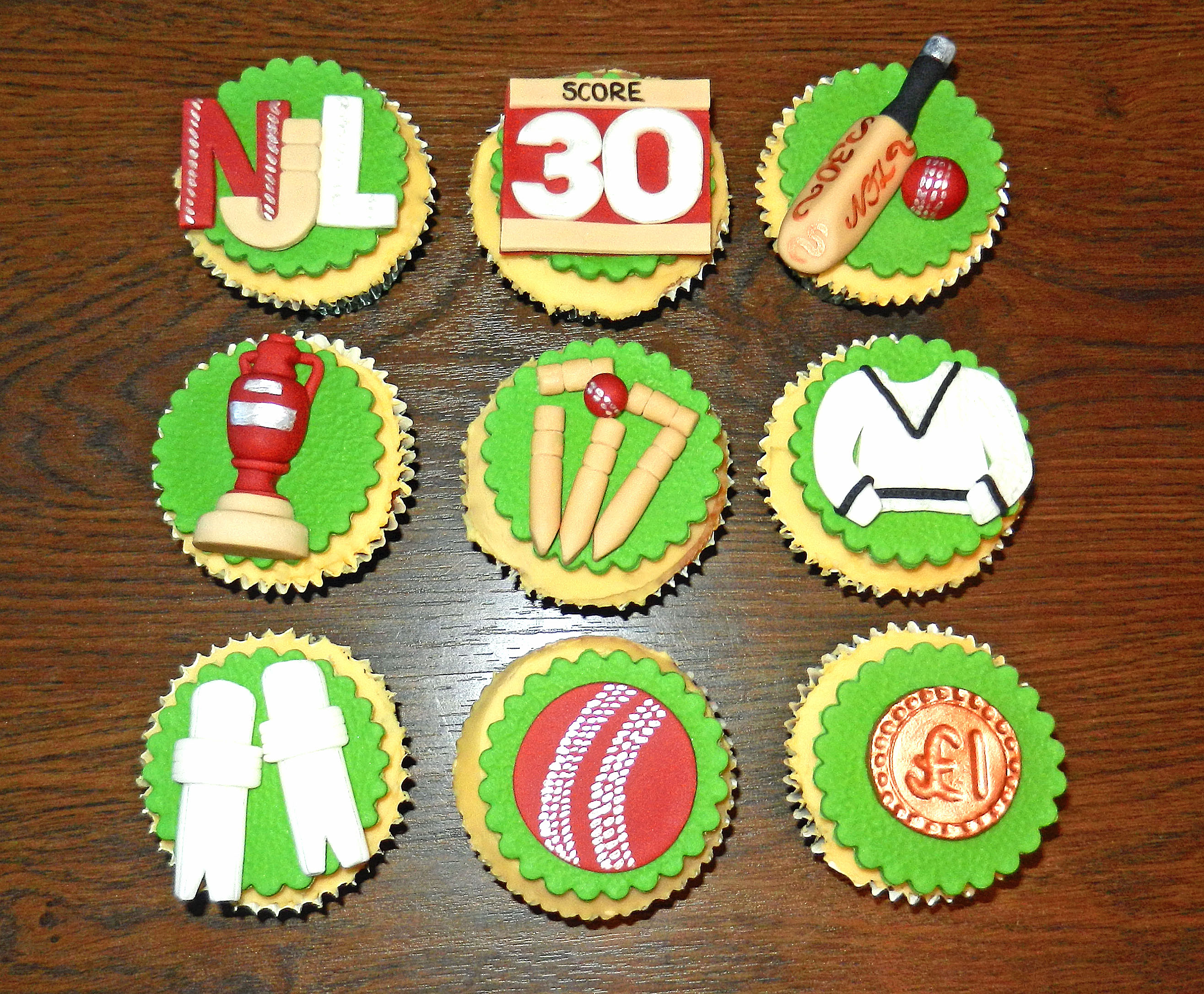 Cricket Themed Birthday Cupcakes