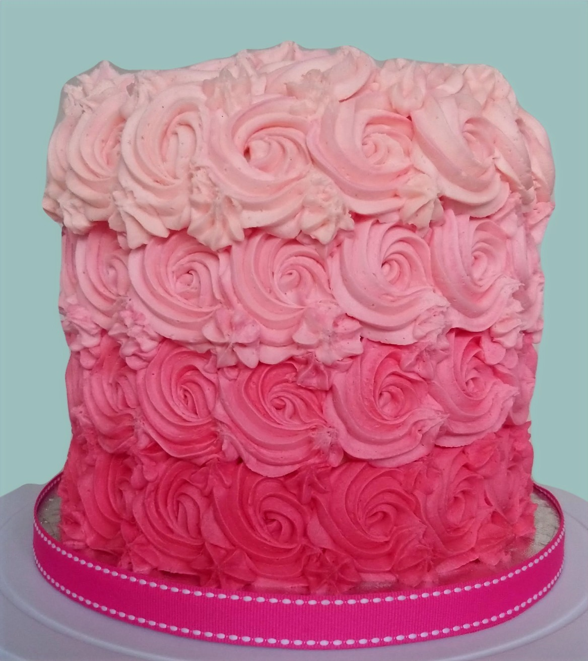 Ombre Rose Swirl Cake