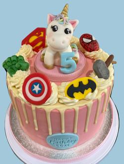 Unicorn and Marvel Themed Cake