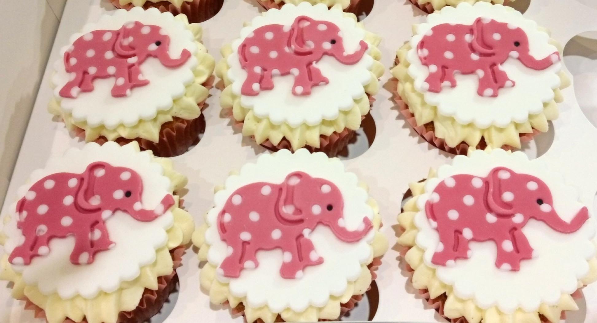 Pink Polka Dot Elephant Cupcakes