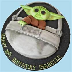 Baby Yoda with Ship Cake