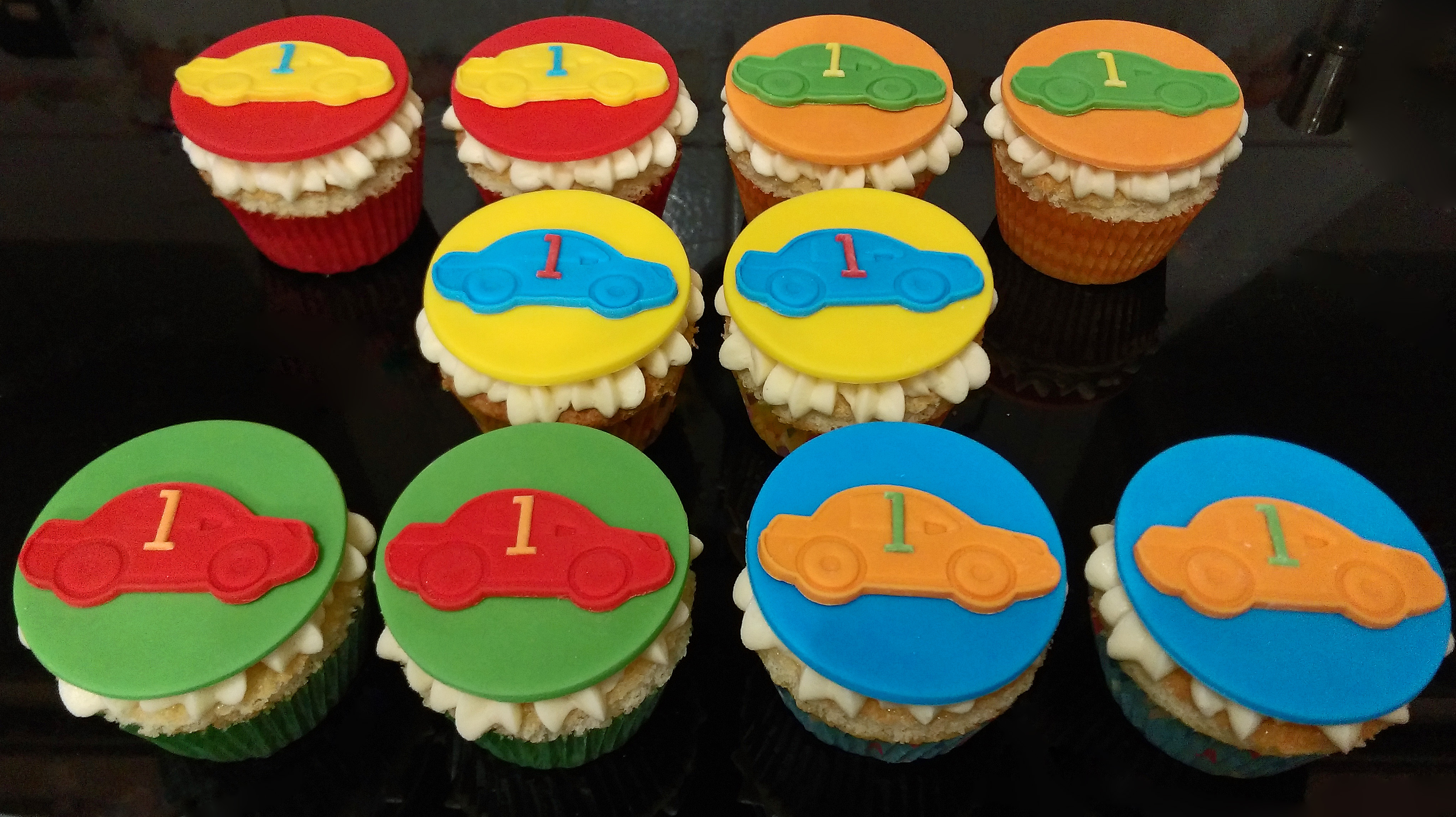 Coloured Car Cupcakes