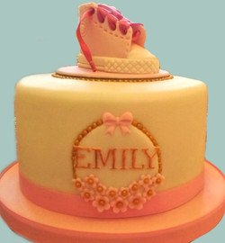 Welcome To The World Baby Girl Shoe Cake