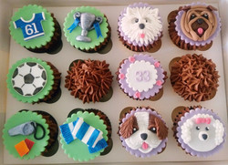 Dual Themed Cupcakes: Football & Puppies