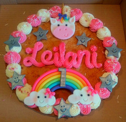 Unicorn and Rainbow 1st Birthday Giant Cookie