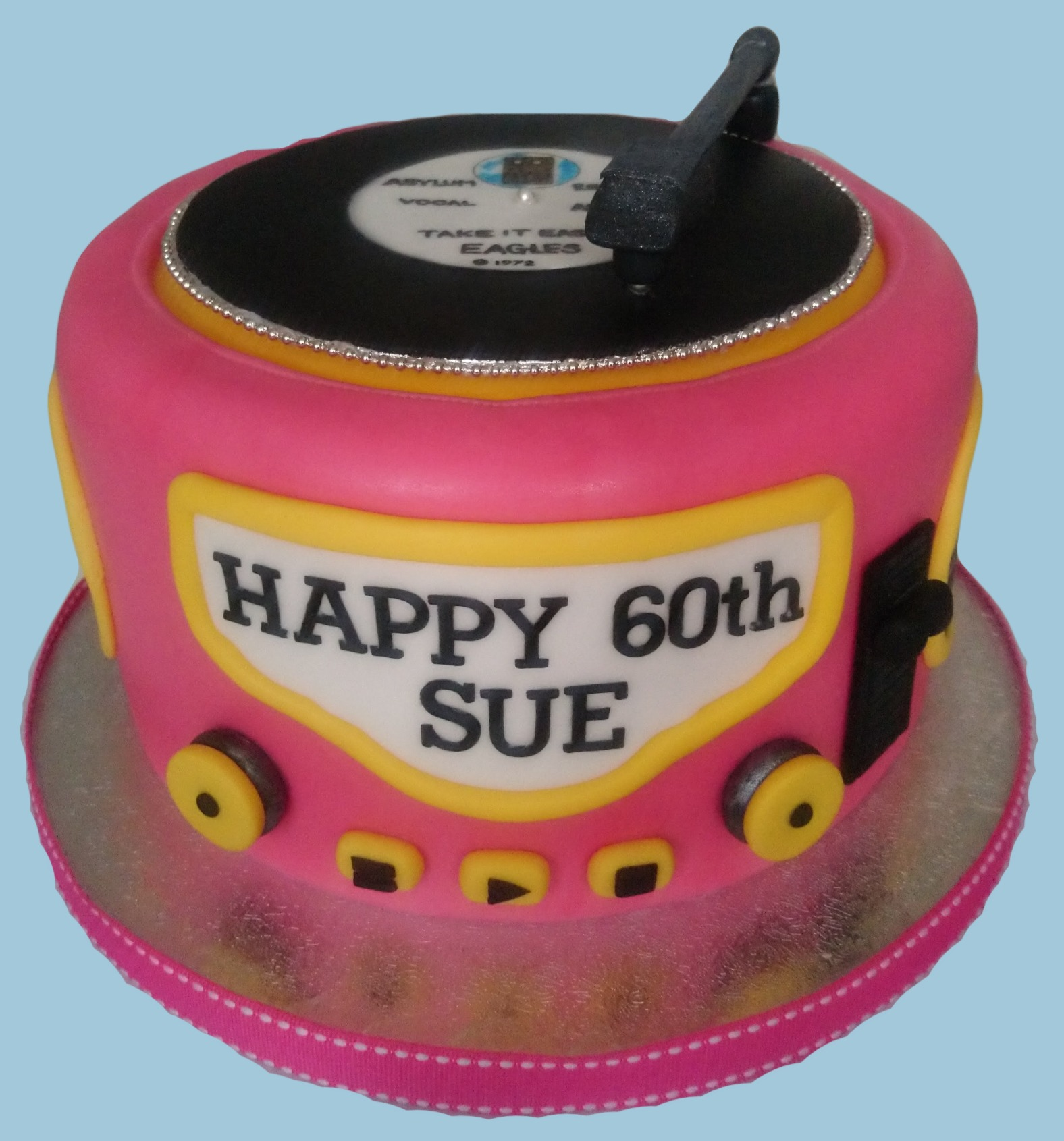 Round Record Player Cake