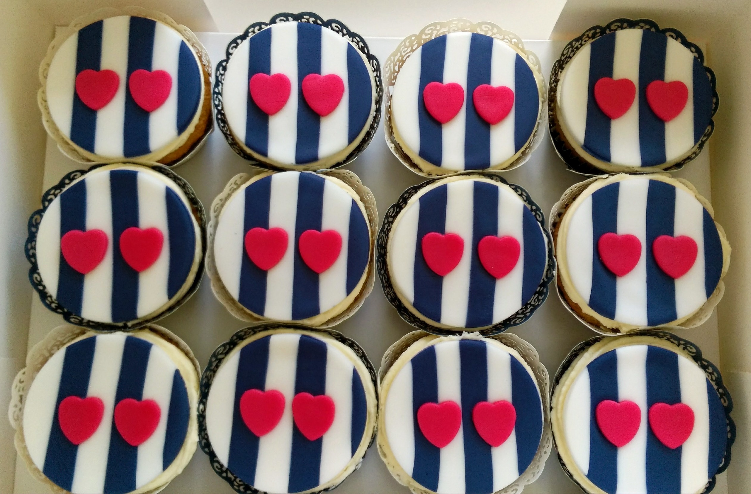 Love Heart Stripped Cupcakes