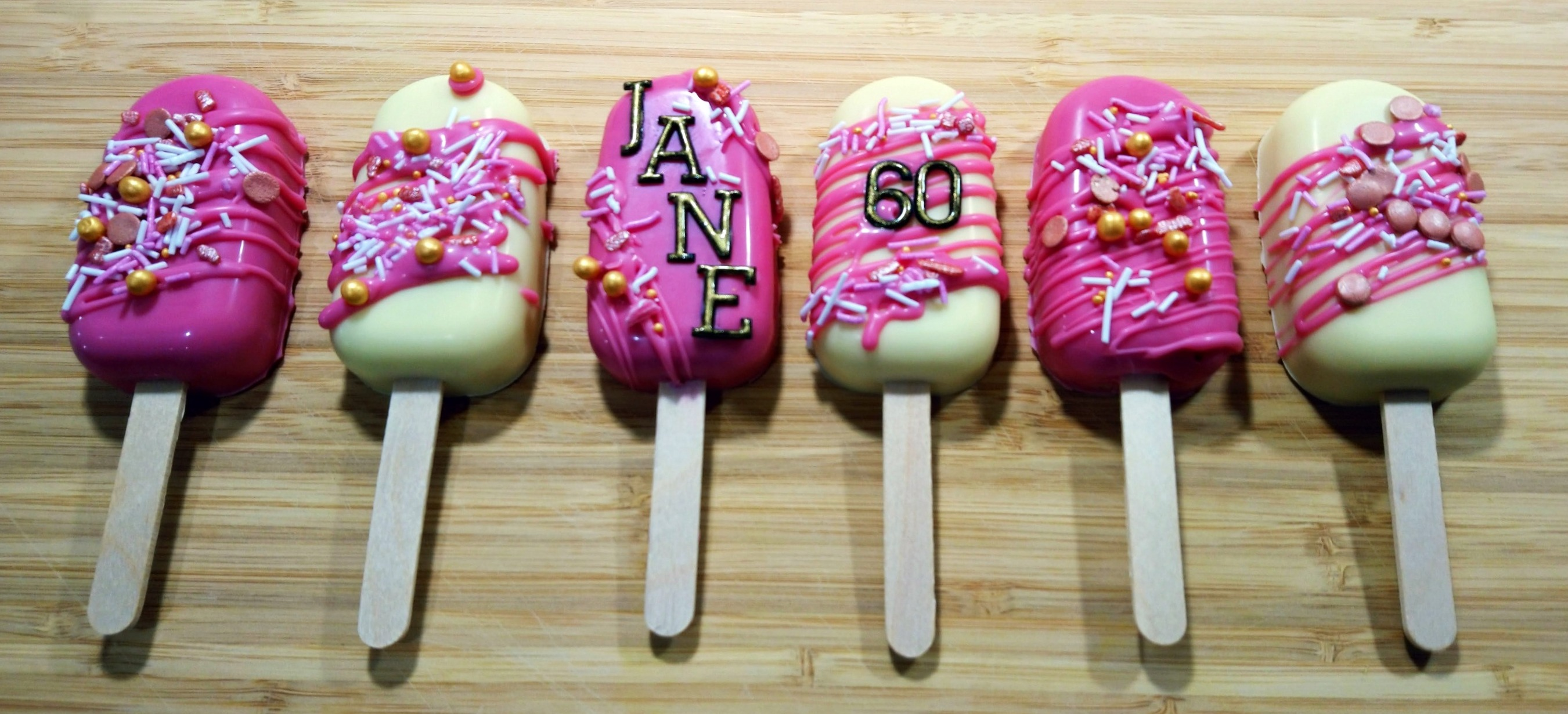 Pink & White Sprinkle Cake Popsicles