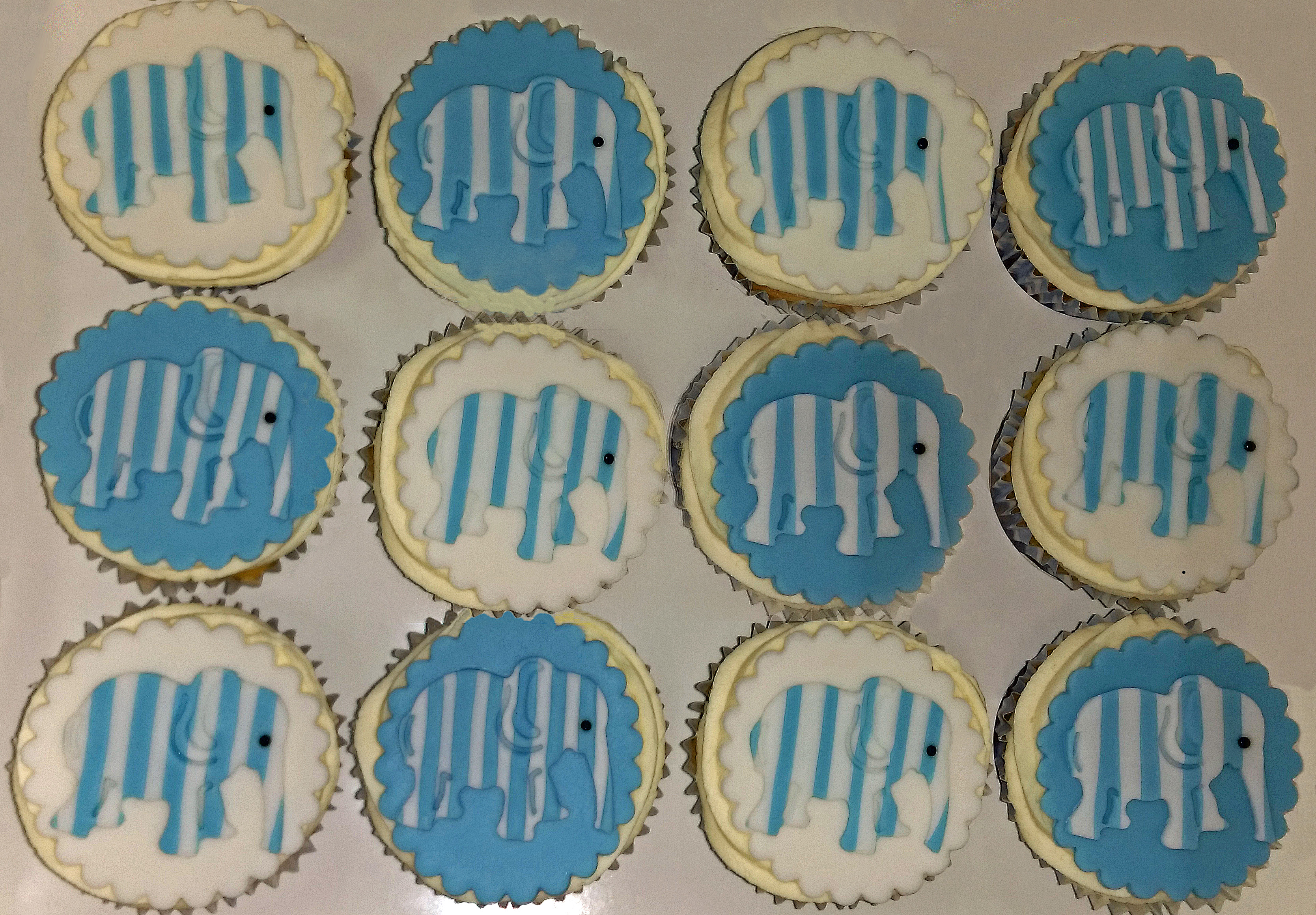 Stripey Blue & White Elephant Cupcakes
