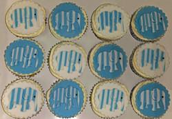 Stripey Blue & White Elephant Cupcakes