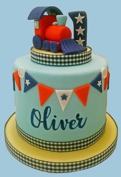 Train Themed First Birthday Cake