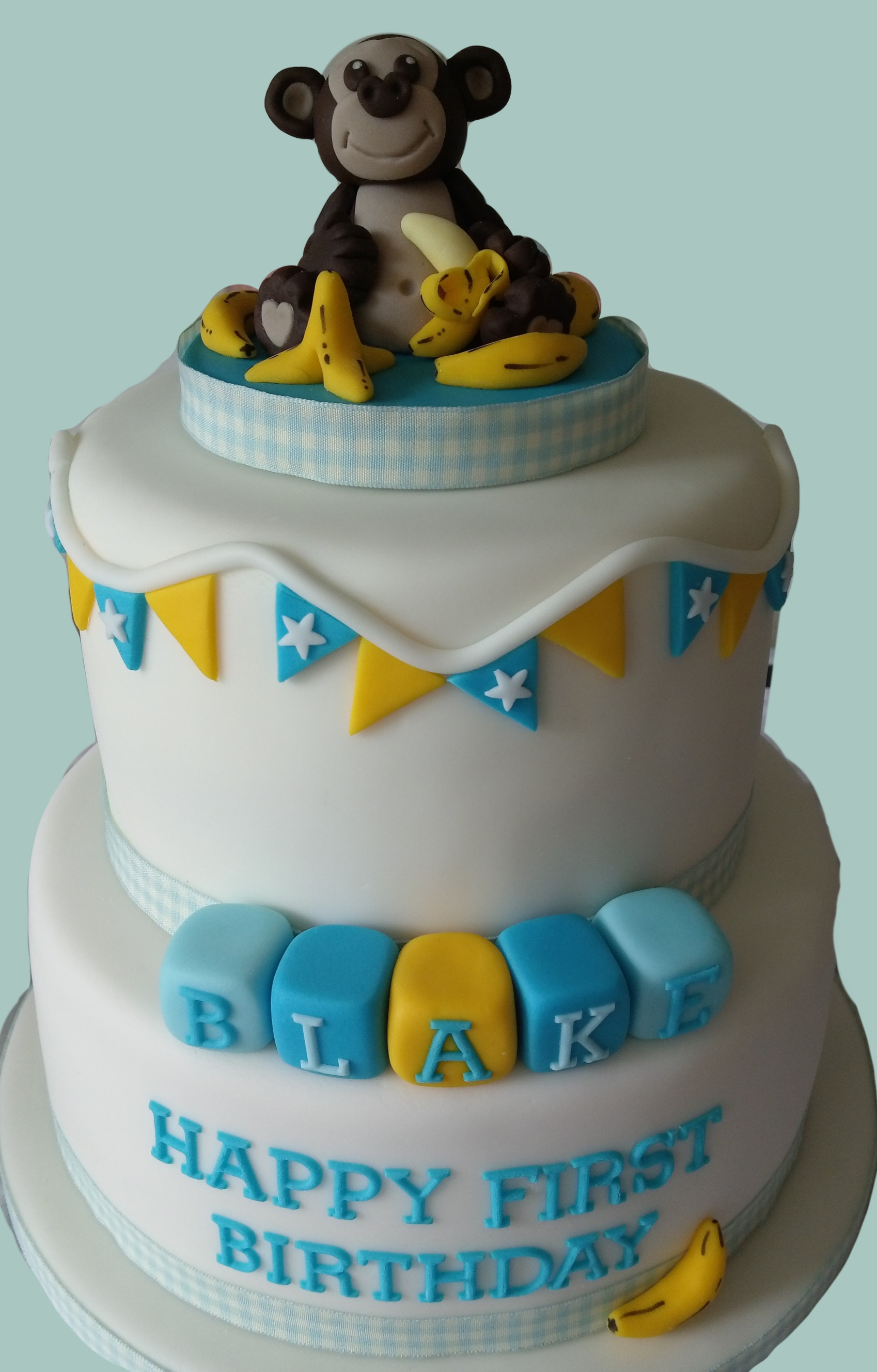 Monkey Themed 1st Birthday Cake