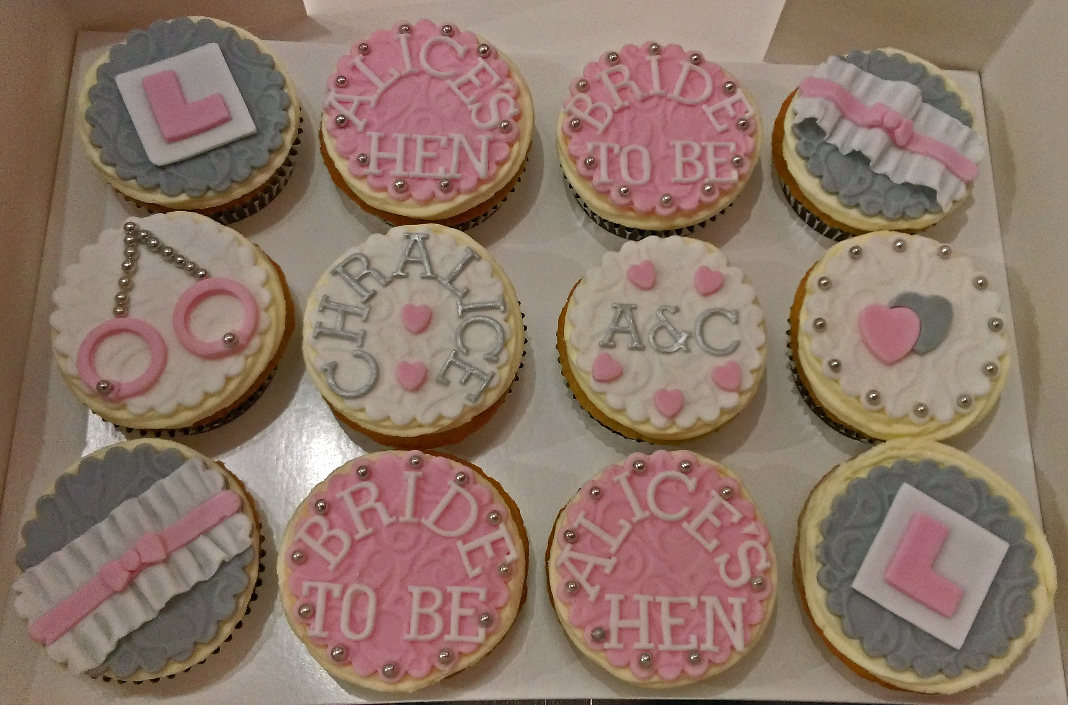 Hen Do / Bridal Shower Cupcakes - Pink & Grey
