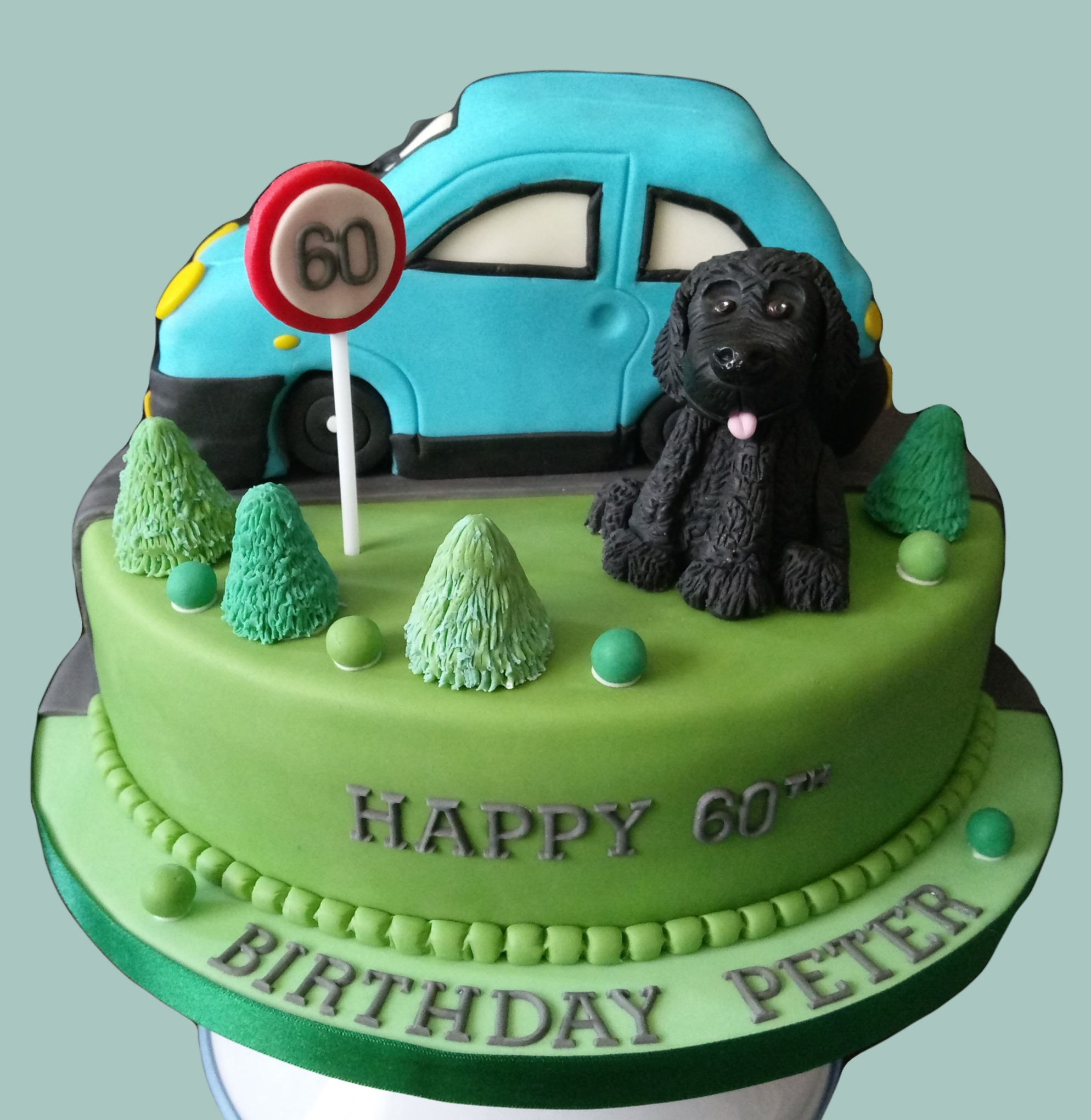 Dog and Car Cake