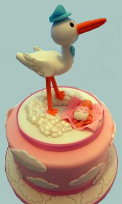 Female Stork Themed Baby Shower Cake