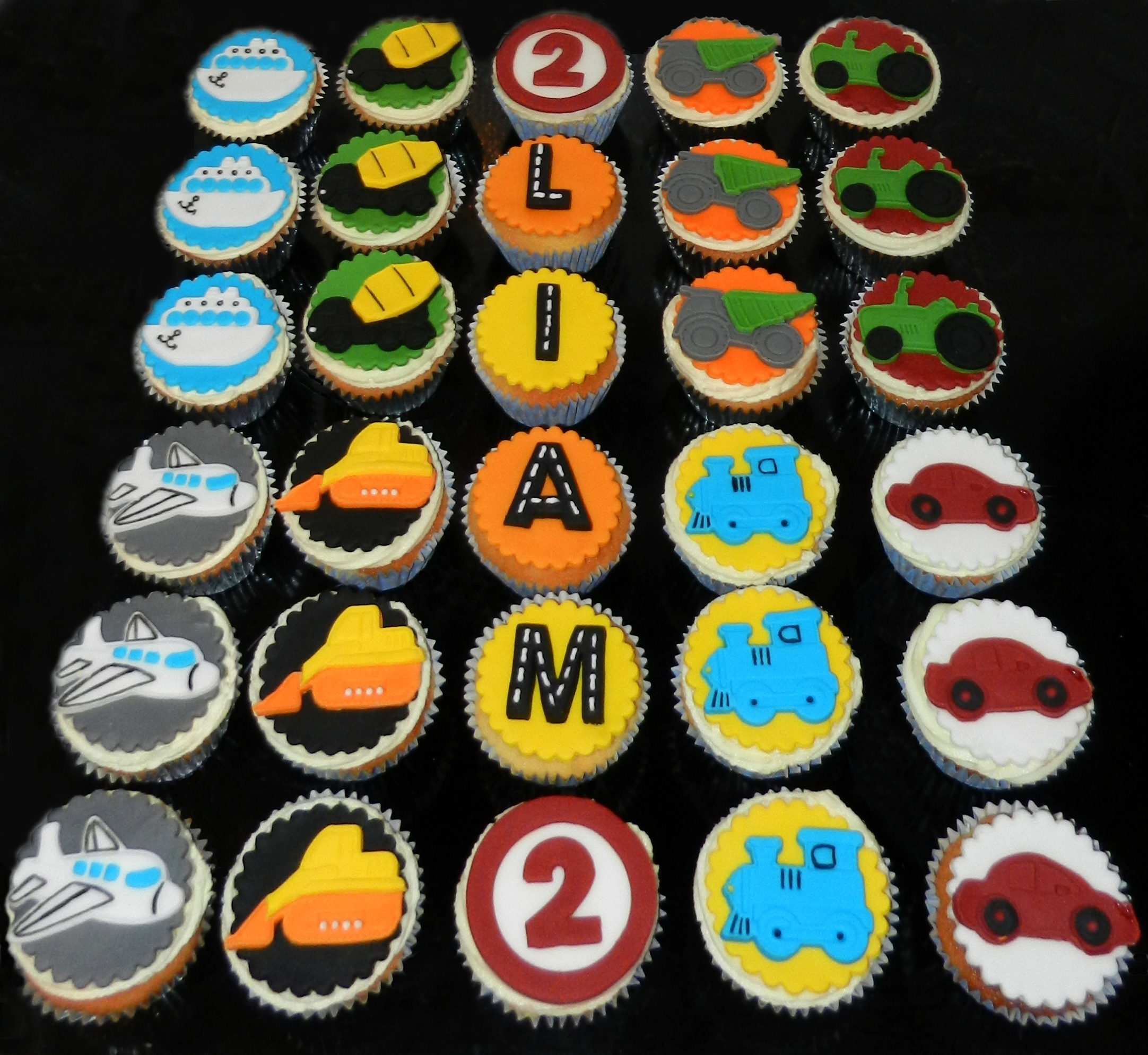 Transport Themed Birthday Cupcakes
