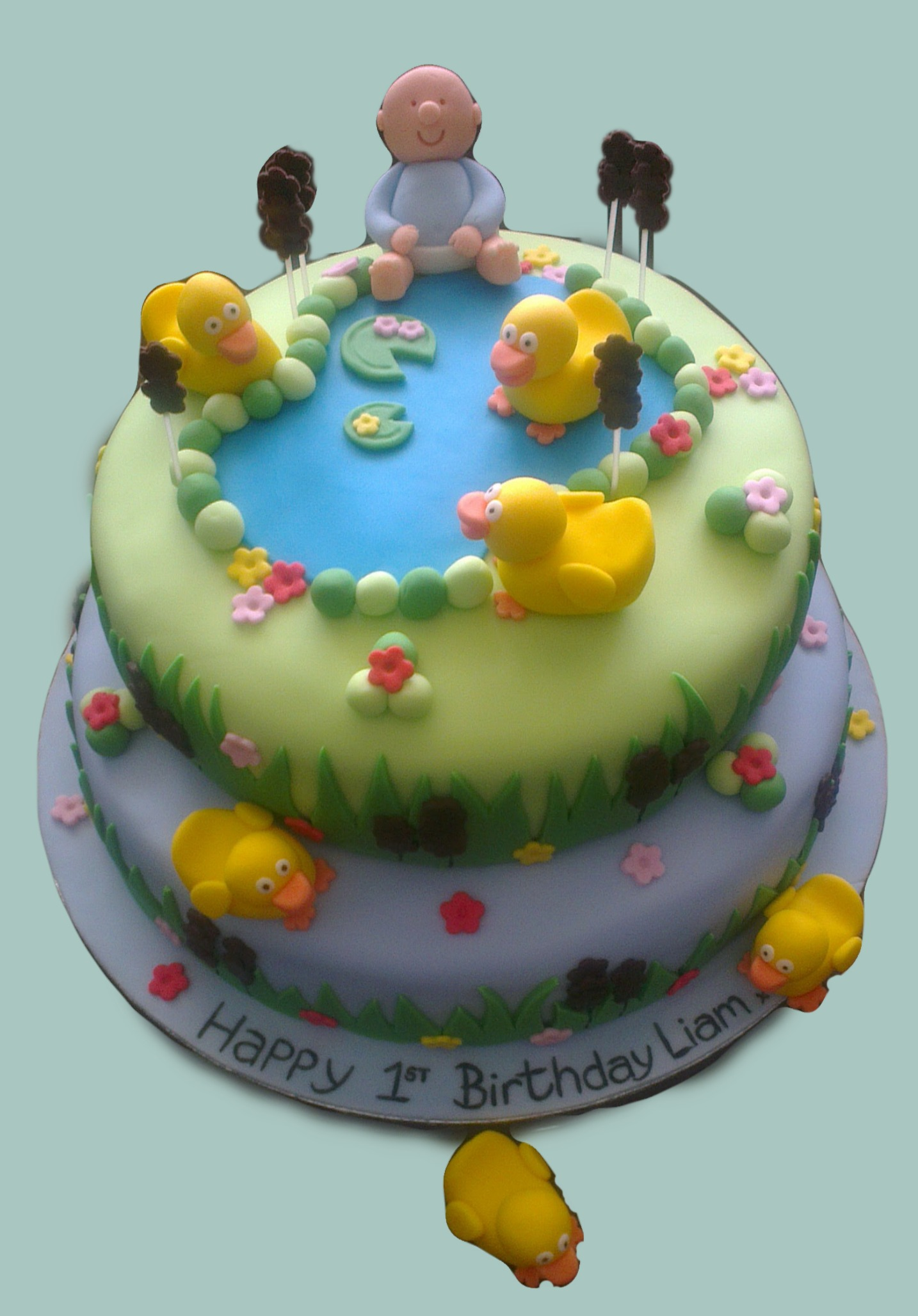 Baby Duck Pond 1st Birthday Cake