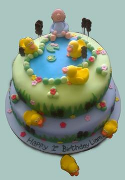 Baby Duck Pond 1st Birthday Cake