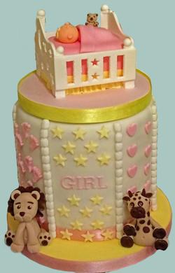 Female Baby Shower Cot Cake