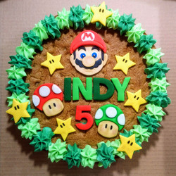 Super Mario Themed 5th Birthday Giant Cookie