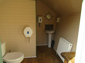 Interior of family shower pods